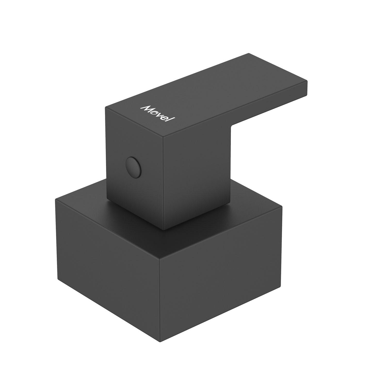 Acabamento Registro Quadrado Preto Fosco Cubo Base Deca