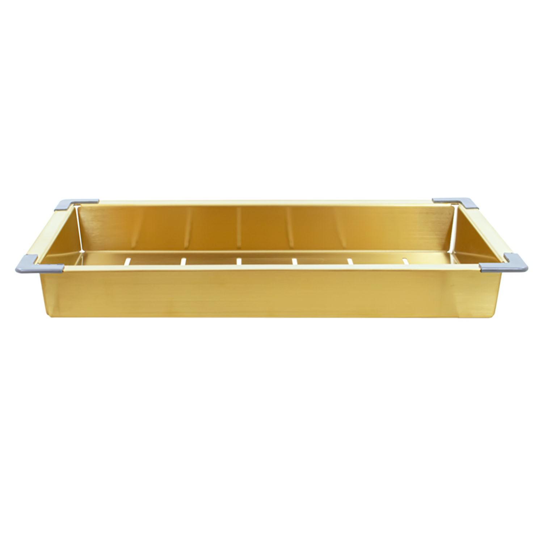 Bandeja Escorredor Profundo Inox Aço Escovado Dourado Gold