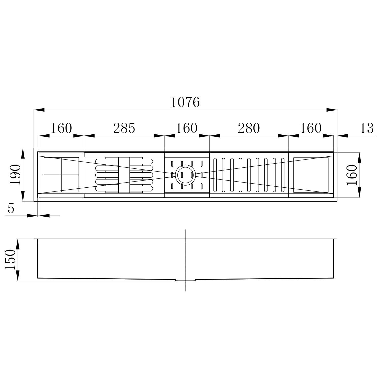 Calha Úmida Canal Organizador Escorredor Inox Embutido 105x16