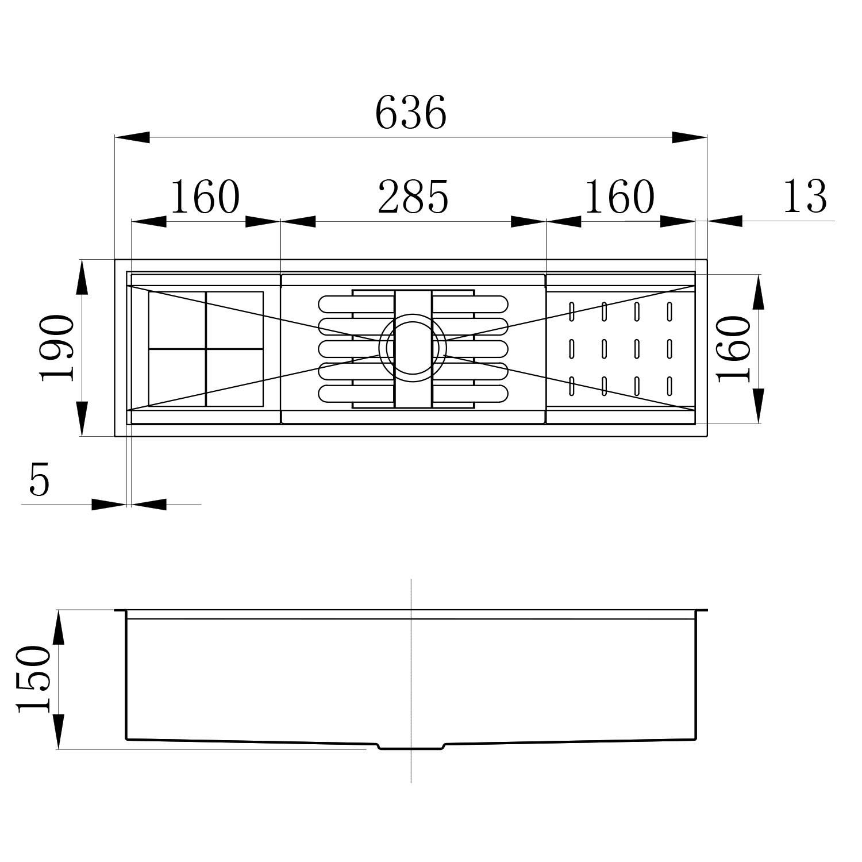 Calha Úmida Canal Organizador Escorredor Inox Embutido 60x16