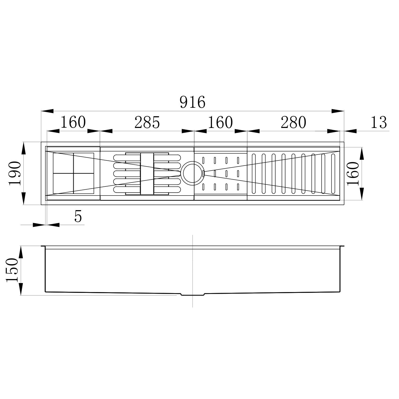 Calha Úmida Canal Organizador Escorredor Inox Embutido 89x16