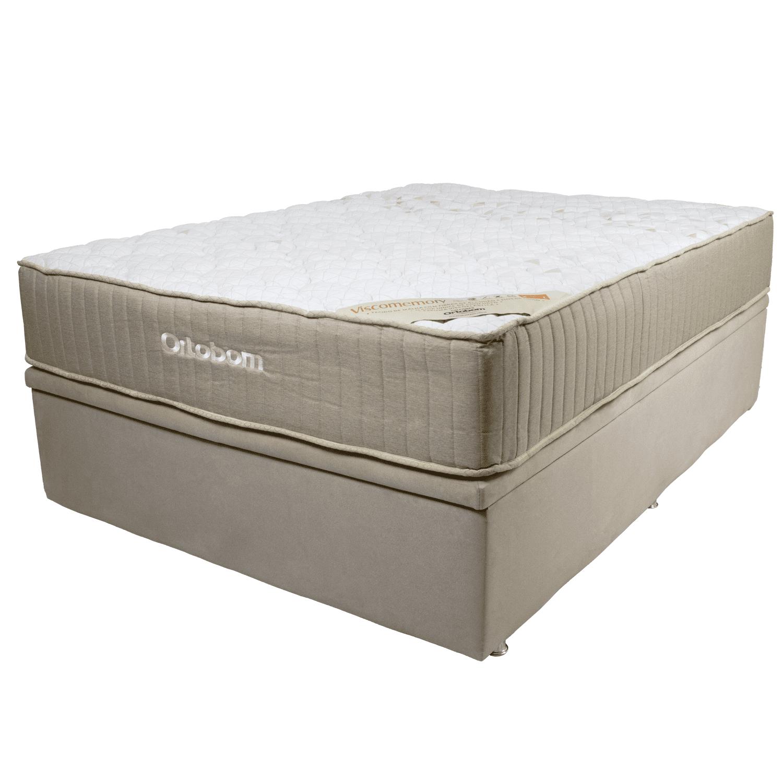 Cama Box Casal Ortobom com Base Baú Camurça Bege 188x138x75