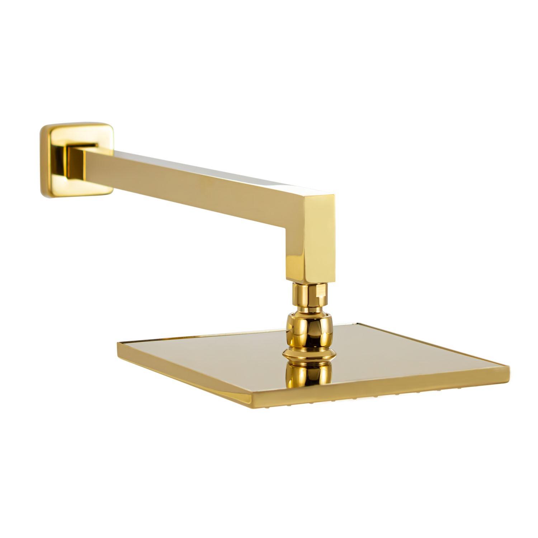Chuveiro de Parede Quadrado Gold Dourado Lux 20x20cm