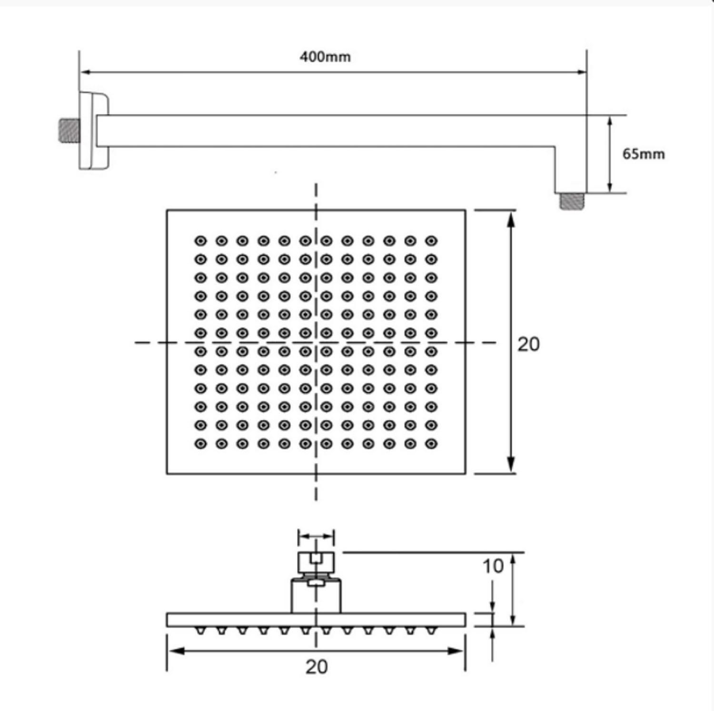 Chuveiro de Parede Quadrado Preto Fosco Lux 20x20cm