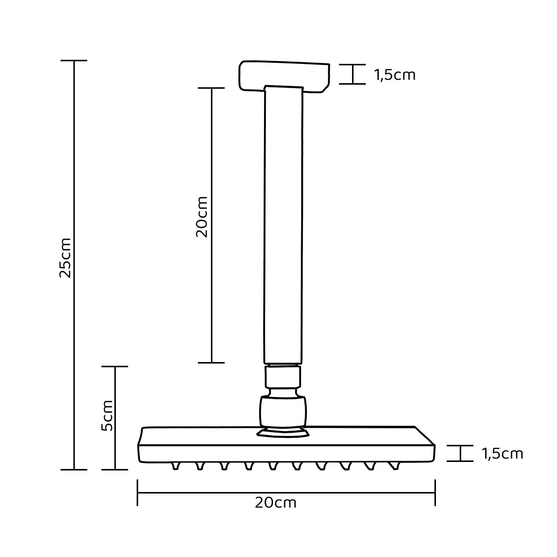 Chuveiro de Teto Quadrado Preto Fosco Lux 20x20cm