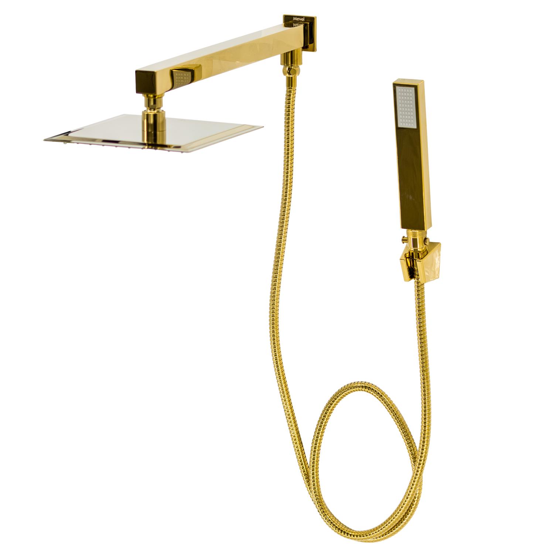 Chuveiro Slim de Parede com Desviador Dourado Gold 20x20cm