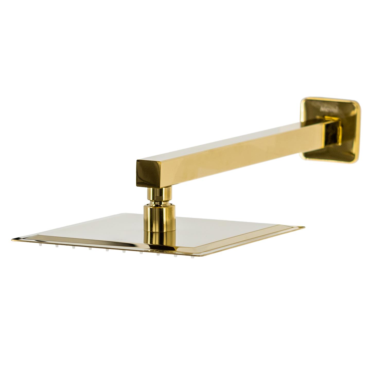 Chuveiro Slim de Parede Quadrado Dourado Gold 20x20cm
