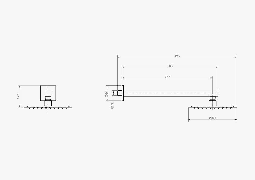 Chuveiro Slim de Parede Quadrado Preto Fosco 20x20cm