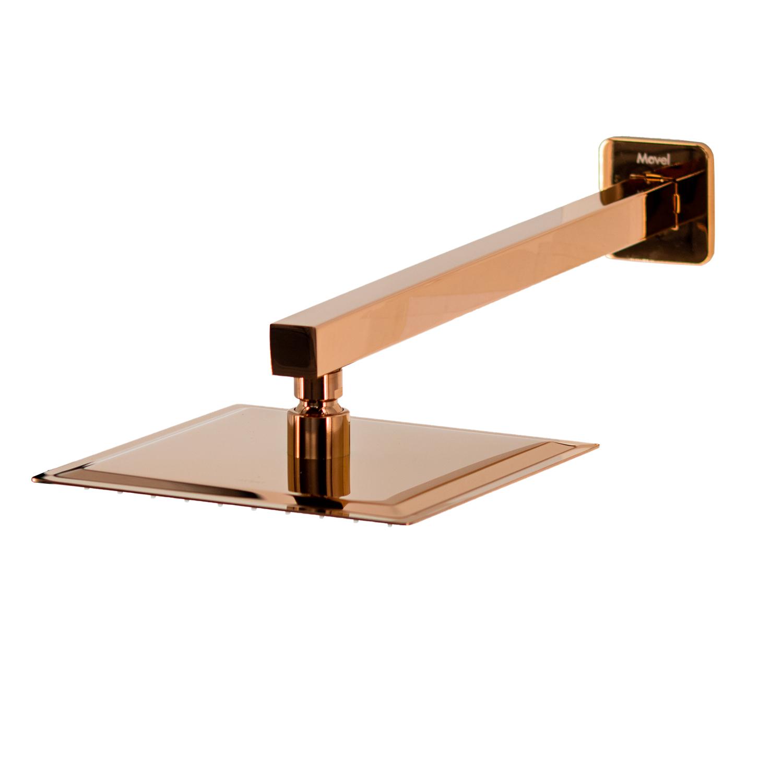 Chuveiro Slim de Parede Quadrado Rose Gold 20x20cm