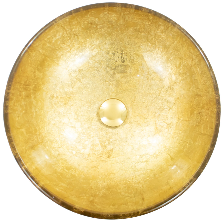 Cuba de Apoio Redonda de Vidro Dourada Gold 42x42cm CUBA21