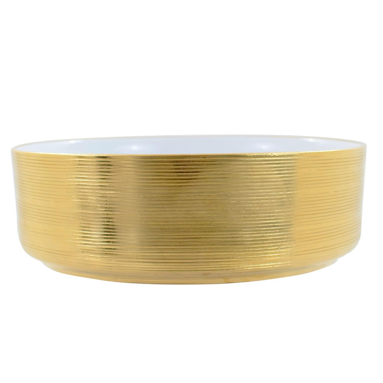 Cuba de Apoio Redonda Gold Dourada 36x36cm CUBA37