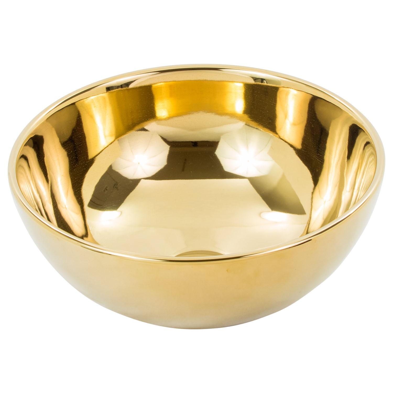 Cuba de Apoio Redonda Gold Dourado 32x32cm CUBA03MINI