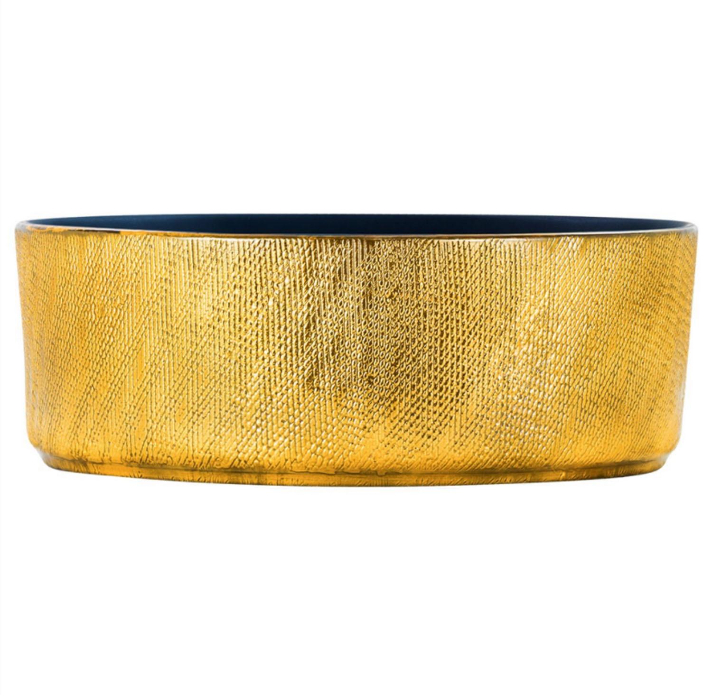 Cuba de Apoio Redonda Gold Dourado 40x40cm CUBA30