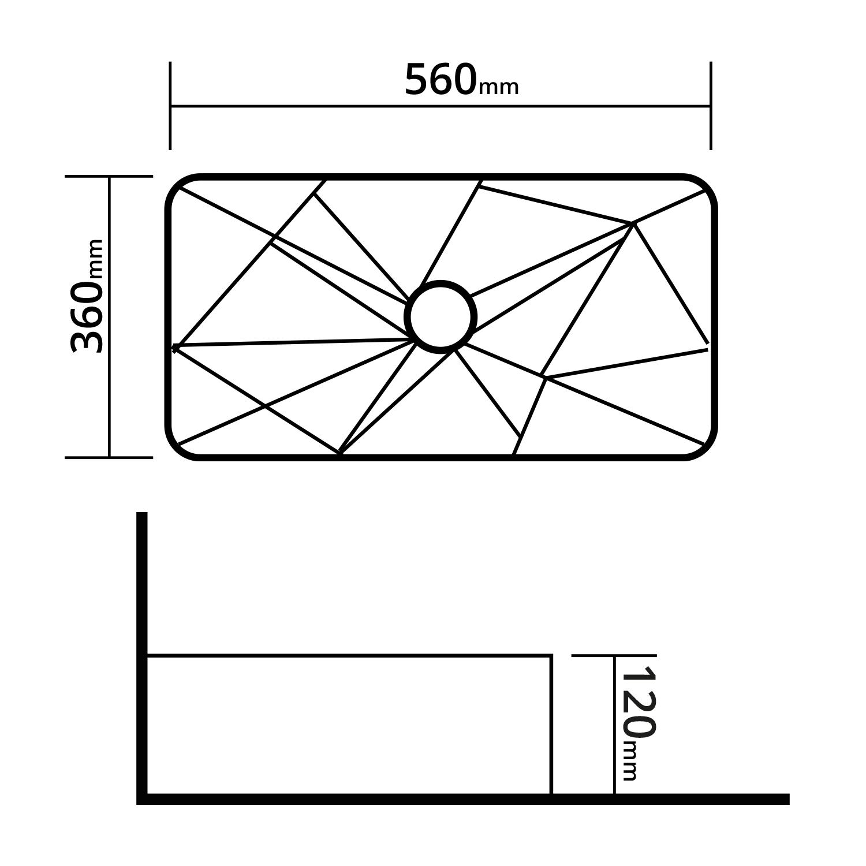 Cuba de Apoio Retangular Tiegs Branco 56x36cm CUBA42
