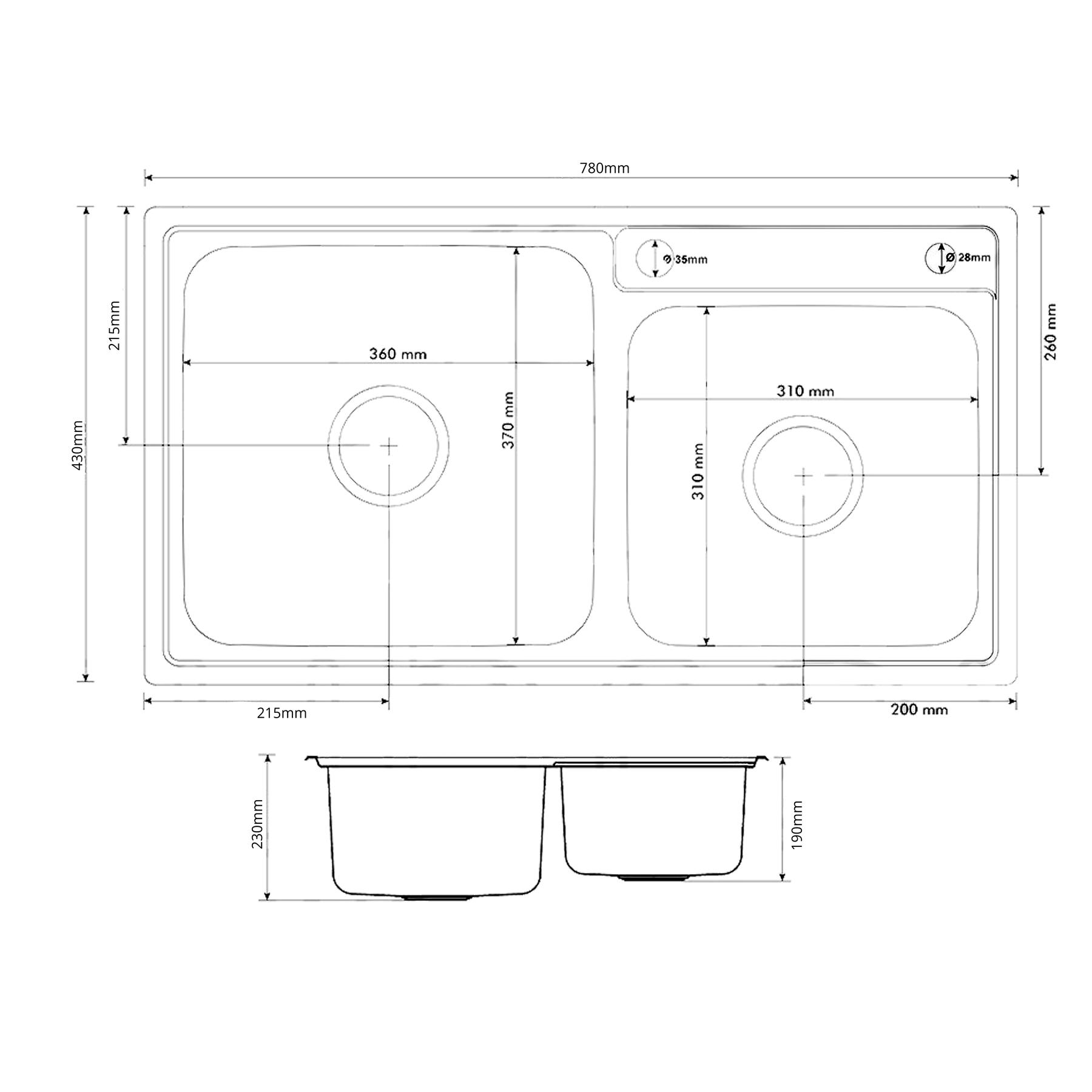 Cuba de Cozinha Inox Aço Escovado Saquarema 75x40cm