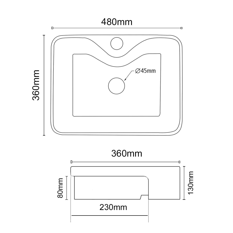 Cuba Semi-Encaixe Retangular Branca 48x36cm CUBA18