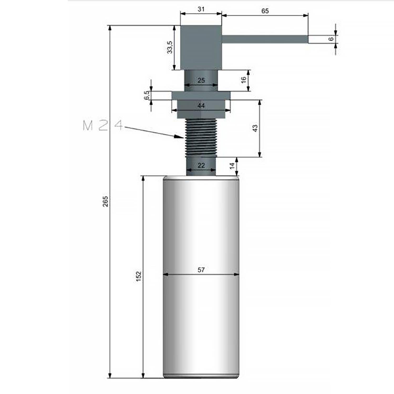 Dosador de Sabão de Embutir Preto Fosco Lux 350ml