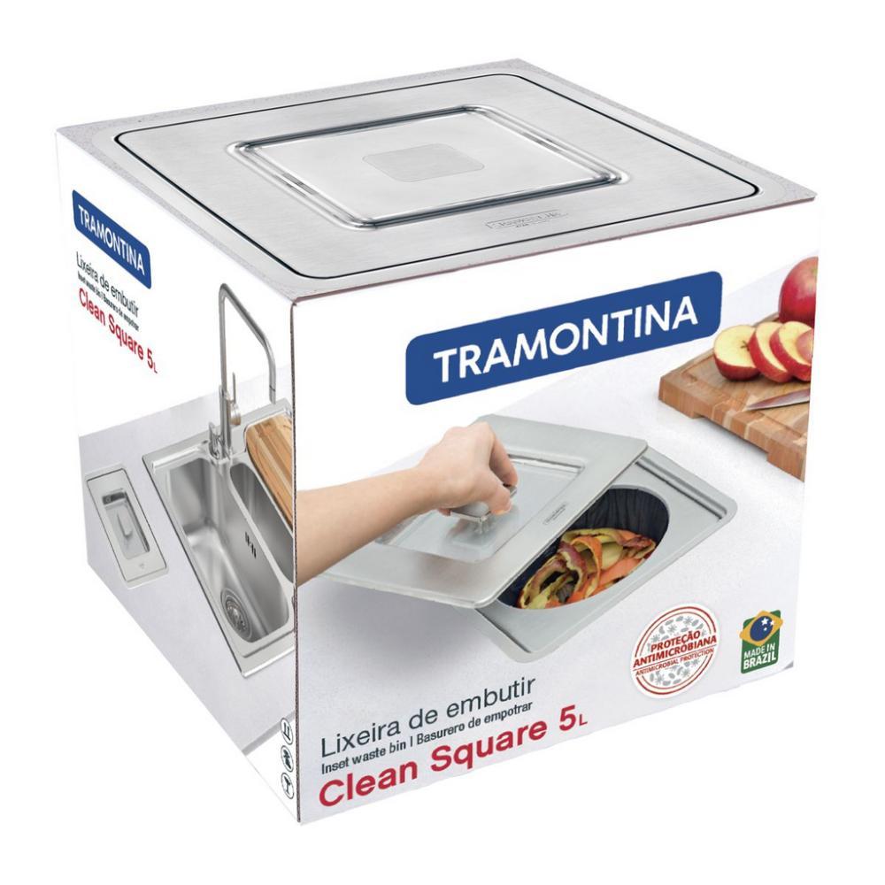 Lixeira de Embutir Tramontina Square Quadrada Aço Inox 5L