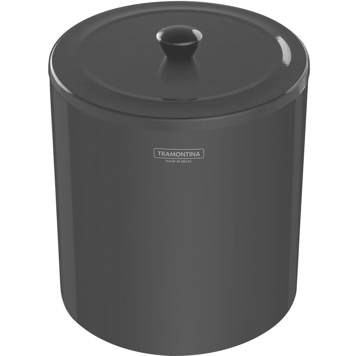 Lixeira Tramontina Útil Aço Inox Polido Black 5L