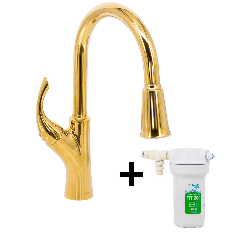 Misturador G Extensível Dourado Gold Nias Com Kit Filtro