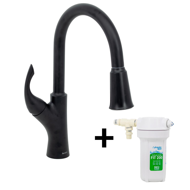 Misturador G Extensível Preto Fosco Nias Com Kit Filtro