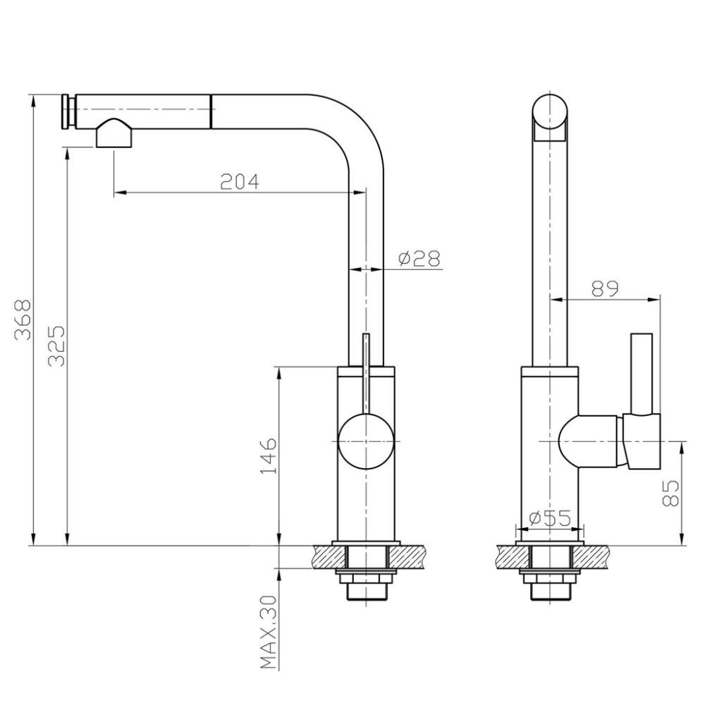 Misturador G Monocomando Extensível Aço Escovado GOURMET09