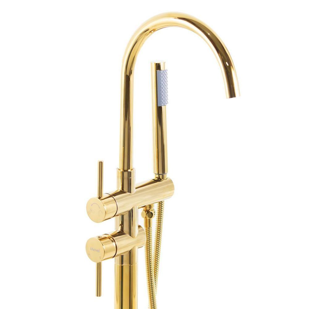 Misturador Monocomando Banheira de Piso Nias Dourado Gold