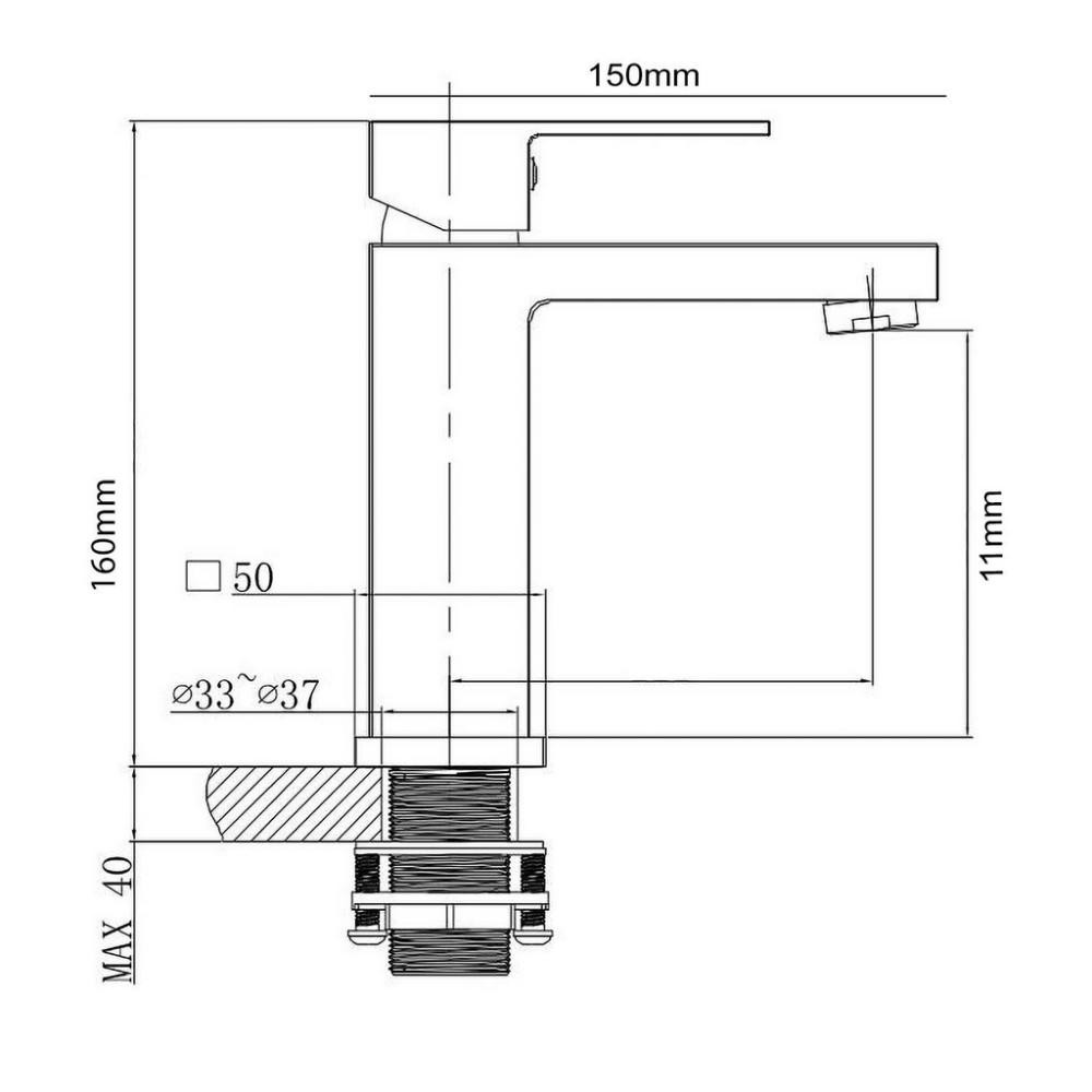 Misturador Monocomando Bica Baixa Preto Fosco MIST03
