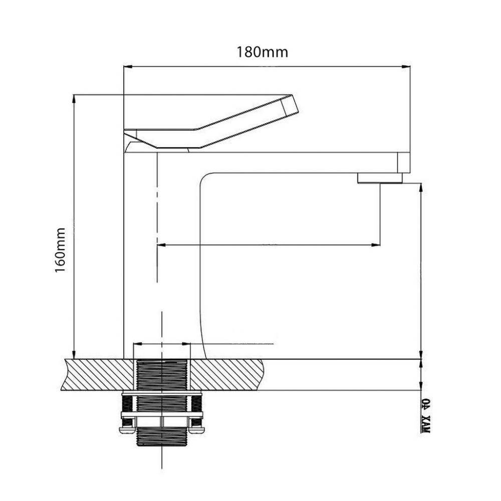 Misturador Monocomando Bica Baixa Preto Fosco MISTLUX