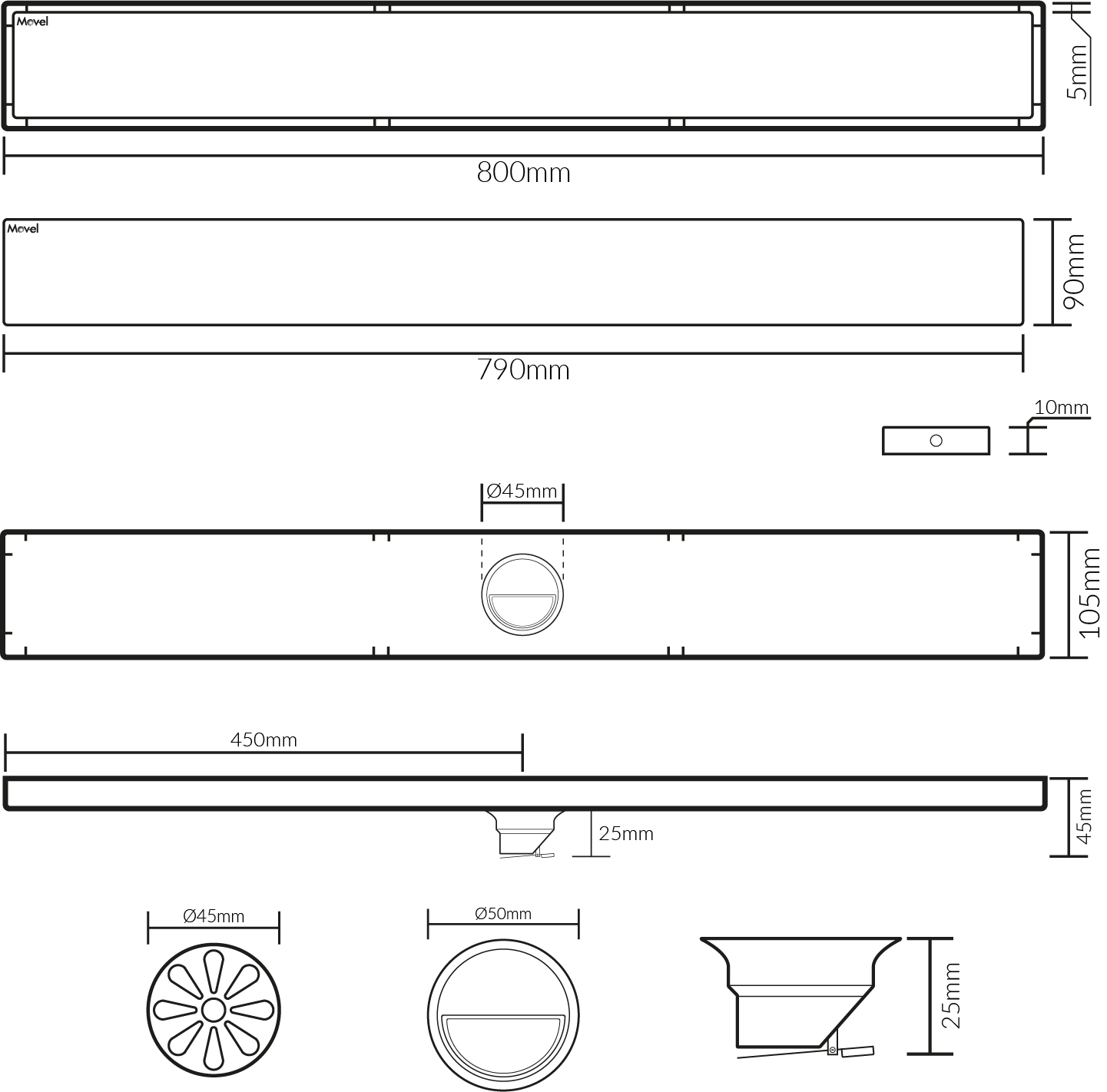 Ralo Linear Fechamento Automático Preto Fosco 80x10cm