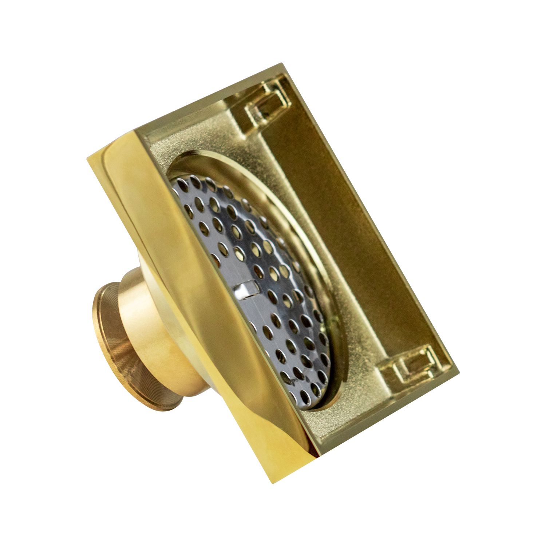 Ralo Quadrado Fechamento Automático Dourado Gold 10x10cm