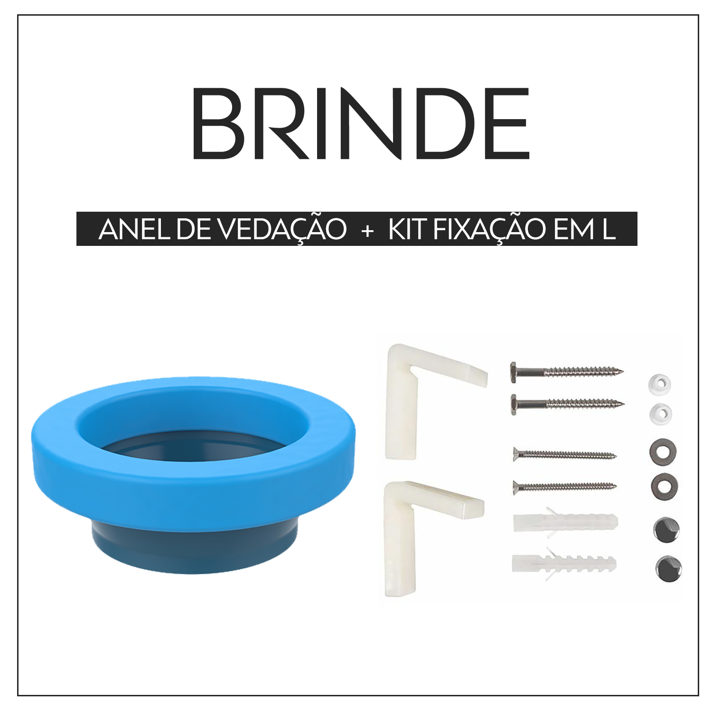 Vaso Sanitário Caixa Acoplada Redondo Fluir Preto Fosco