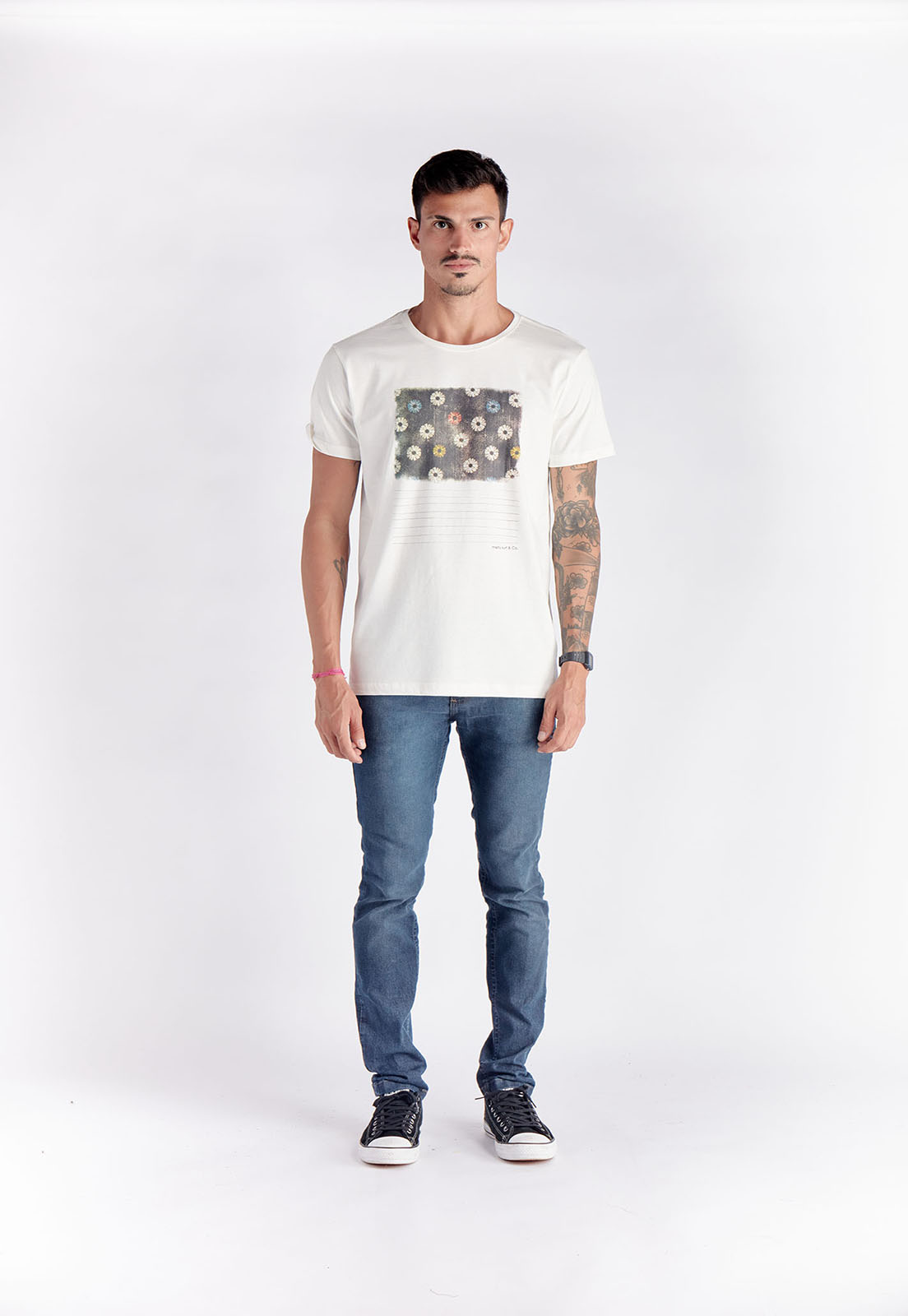 T-shirt  Fleurs Branco Melty  - melty surf & Co.