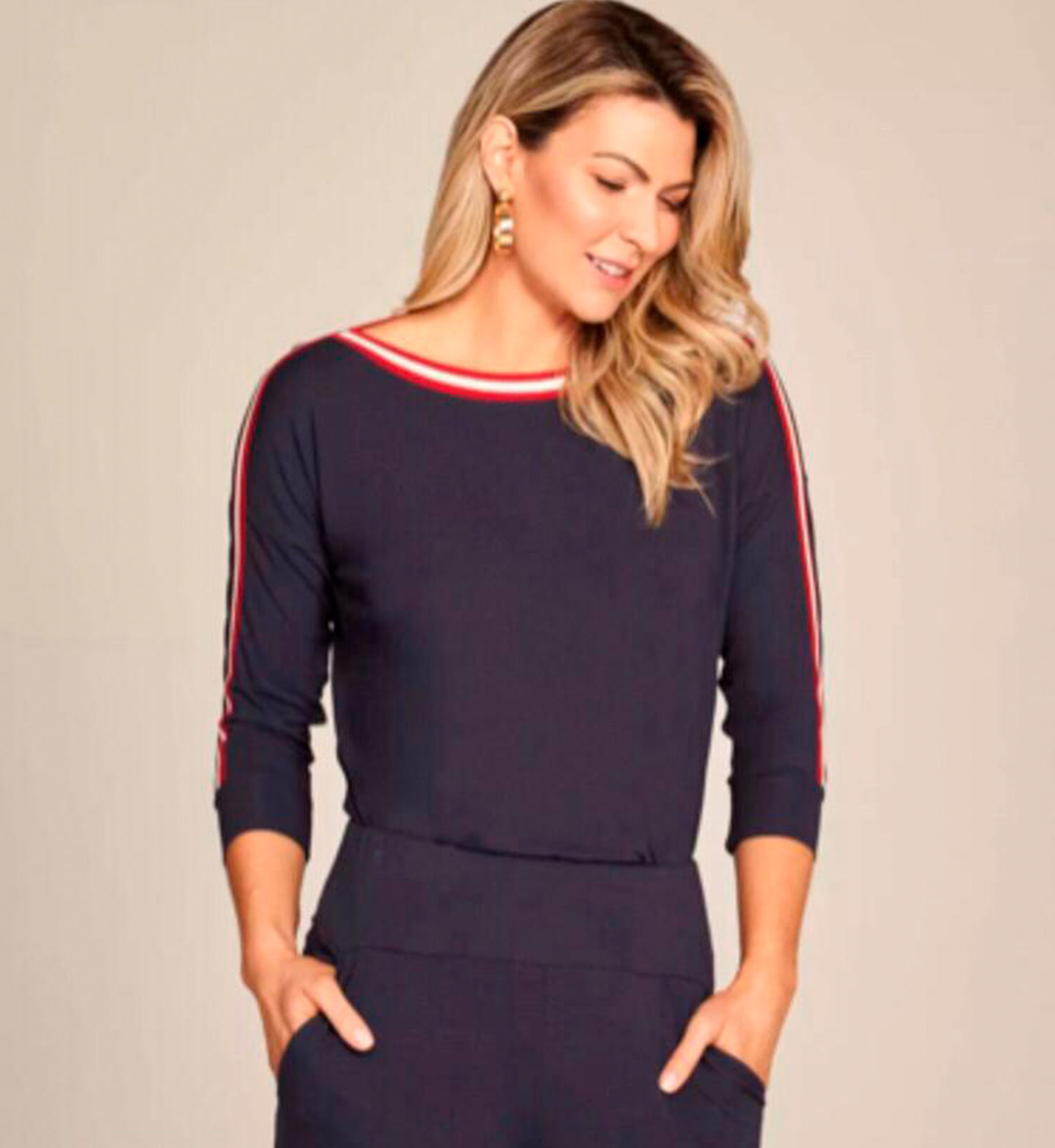 BLUSA VISCO NAVY DEC CANOA MG 3/4