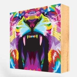 """Bloco Decorativo """"Wild Lion Colorful"""" REF: BLC121"""