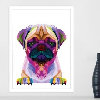 "Quadro Decorativo A3 Pug ""Colorful"" REF: QDR105"