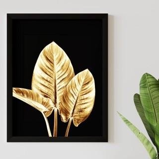 "Quadro Decorativo A3 ""Golden Leaf"" REF: QDR132"