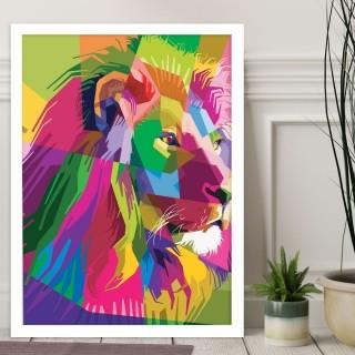 """Quadro Decorativo A3 Leão """"Colorful"""" REF: QDR100"""
