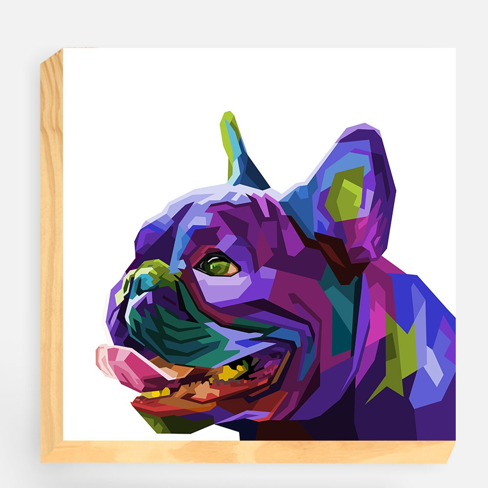 "Bloco Decorativo ""Buldog Francês Colorful"" REF: BLC109"