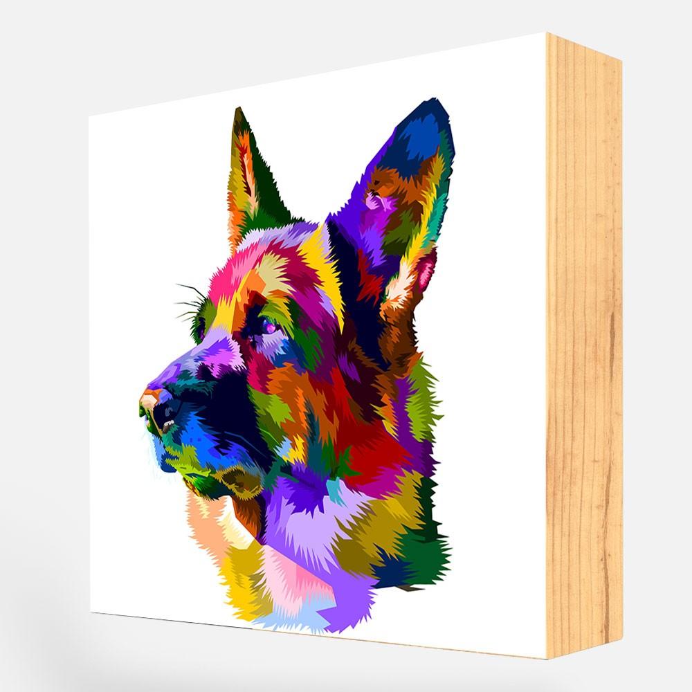 """Bloco Decorativo """"Pastor Alemão Colorful"""" REF: BLC118"""