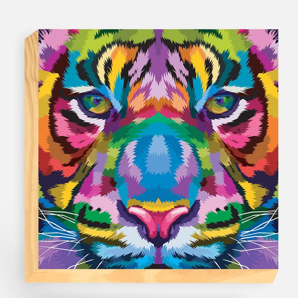 """Bloco Decorativo """"Tiger Colorful"""" REF: BLC99"""