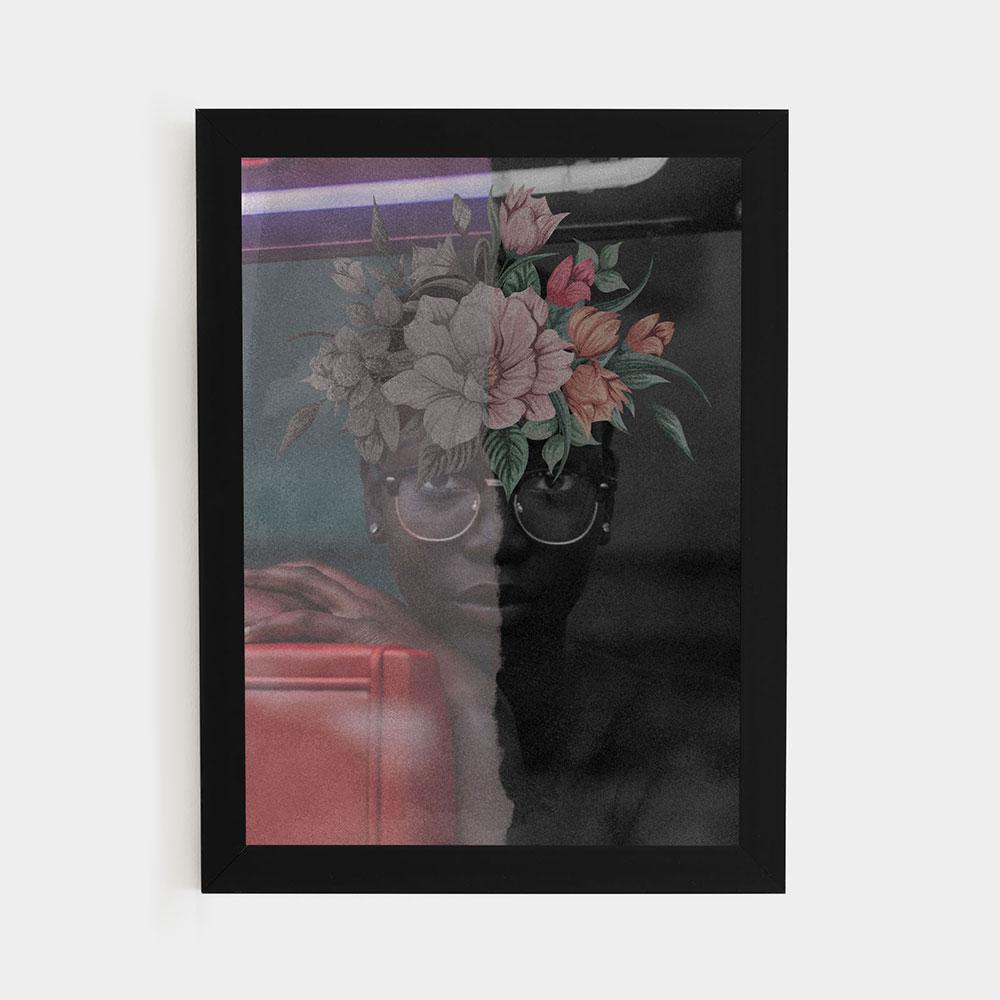 """Quadro Decorativo A3 """"Face Flower"""" REF: QDR3-A3"""