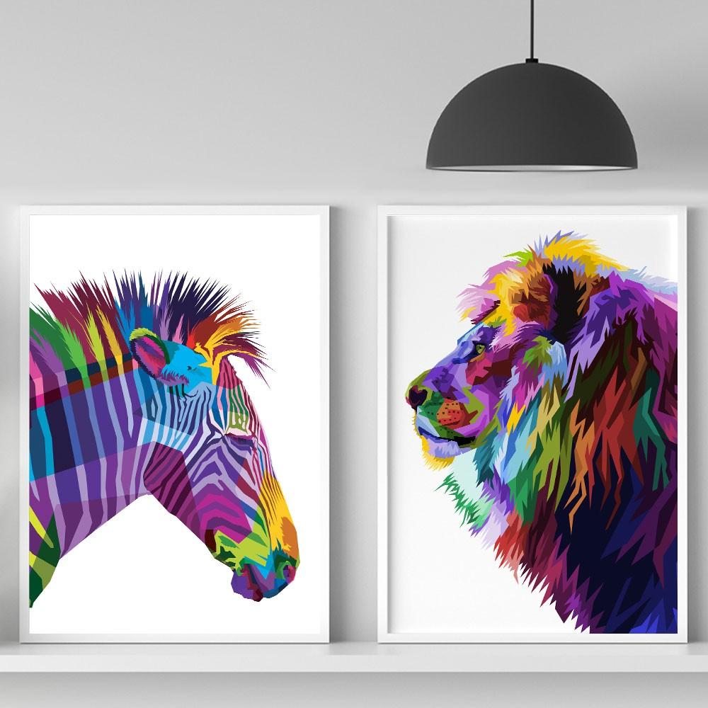 """Kit Dois Quadros Decorativos A3 Leão """"Colorful"""" REF: KQDR97+123"""
