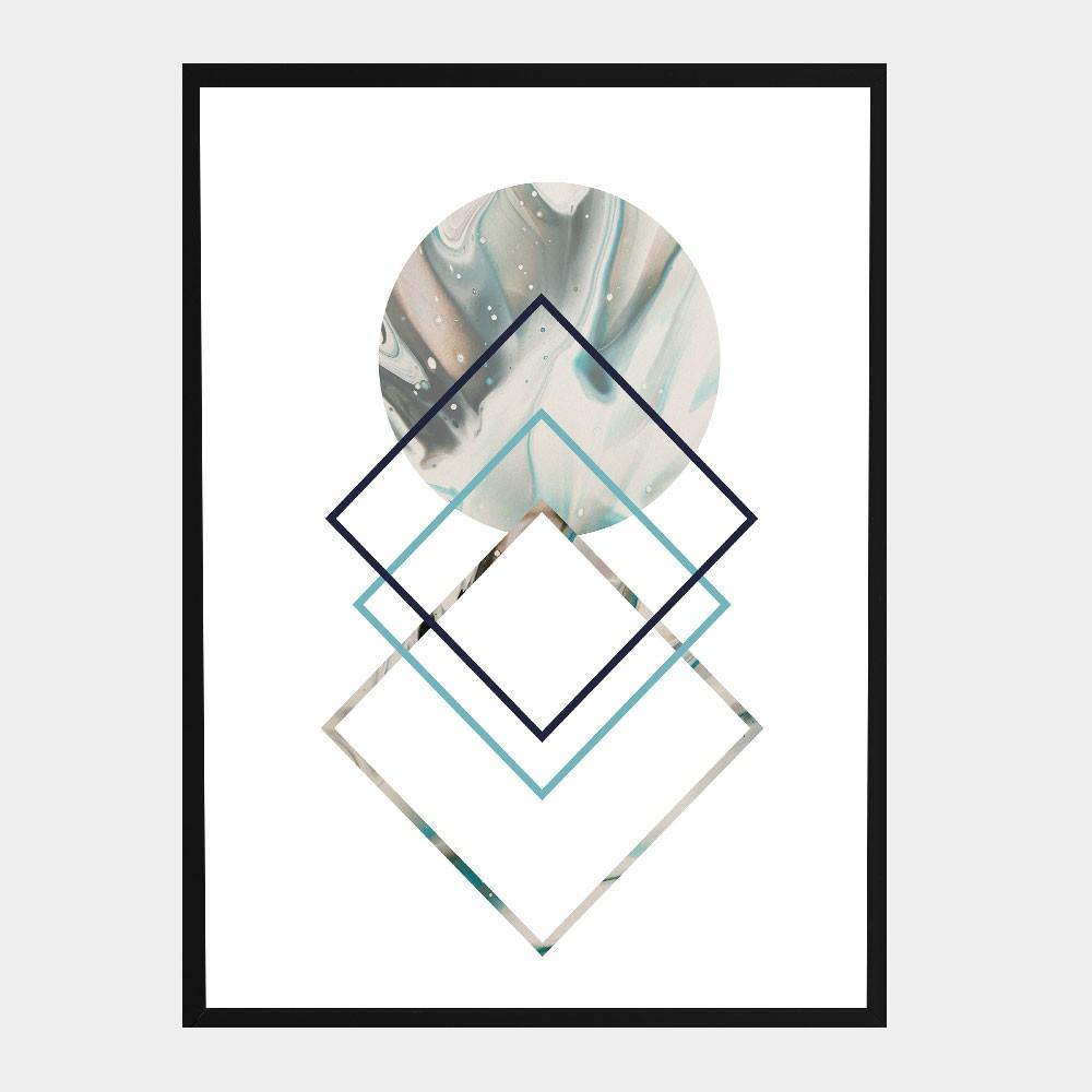 "Kit Três Quadros Decorativos A3 ""Mármore Geometric"" REF: KQDR53-54-55"
