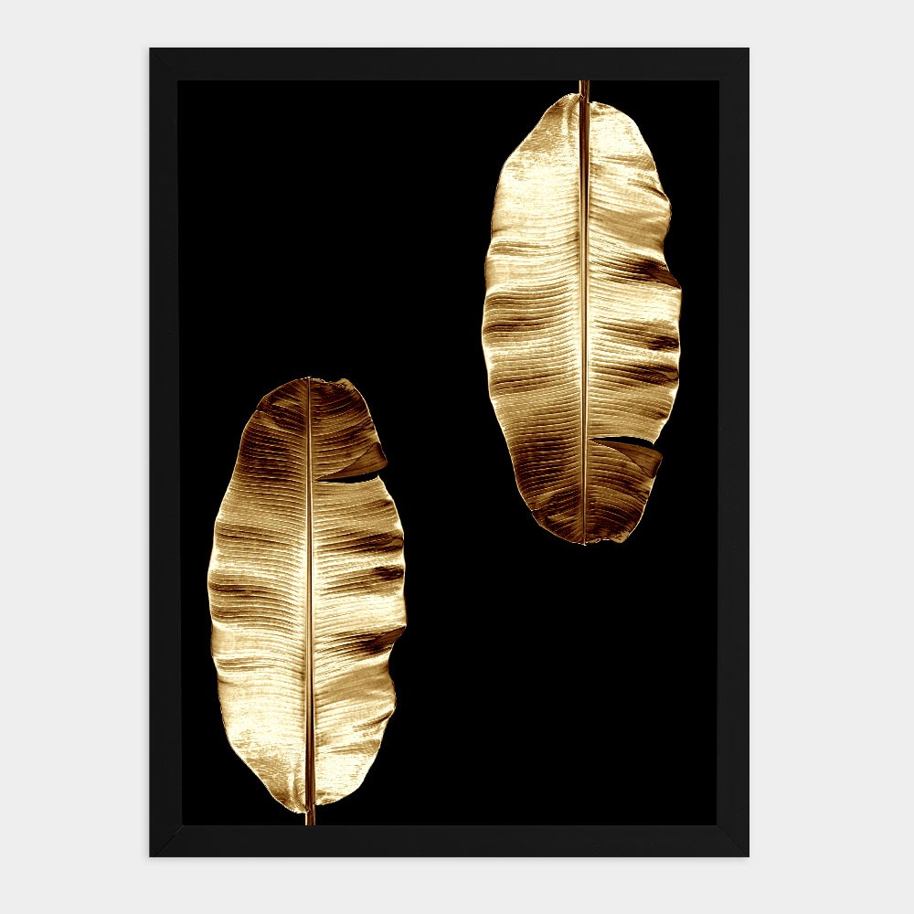 "Kit Quadros Decorativos A3 ""Golden Leaf"" REF: KQDR133+134"
