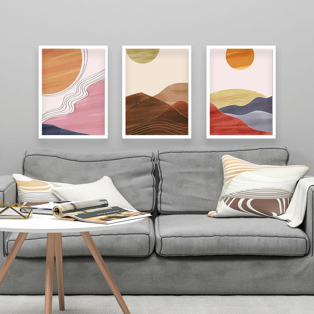 "Kit Três Quadros Decorativos A3 ""Sunset"" REF: KQDR74-75-76"