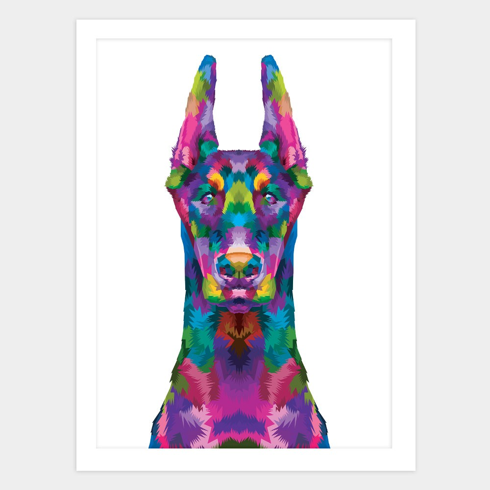 "Quadro Decorativo A3 Doberman ""Colorful"" REF: QDR119"