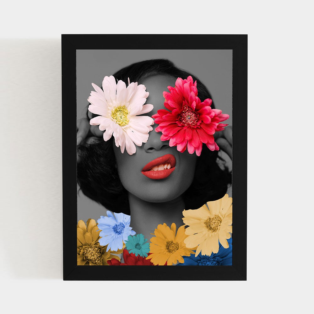 "Quadro Decorativo A3 ""Flowers Woman"" REF: QDR8-A3"