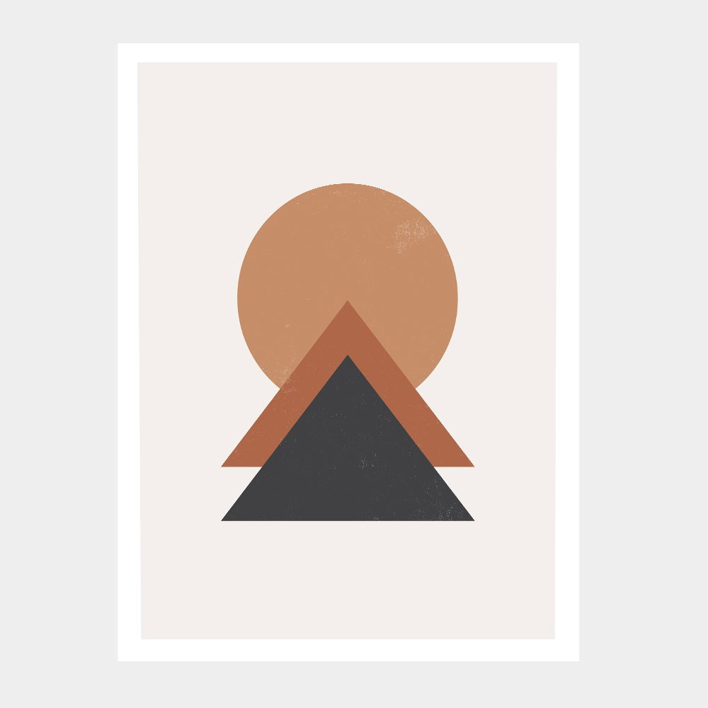 """Quadro Decorativo A3 """"Minimalist"""" Círculo e Triângulo REF: QDR147"""