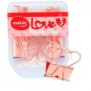BLINDER CLIPS LOVE MOLIN 25mm CORAÇÃO ROSE GOLD C/5 UNIDADES